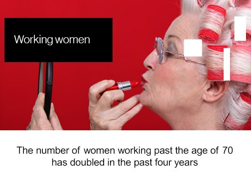 Friday Factoid, Working WOmen, The number of women working past the age of 70 has doubled in the past four years