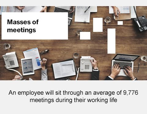 Masses of meeting, an employee will sit through an average of 9,776 meeting during their working life