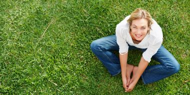 willis towers watson, woman on grass, summer, barefoot, age, elderly, happy, healthy, calm